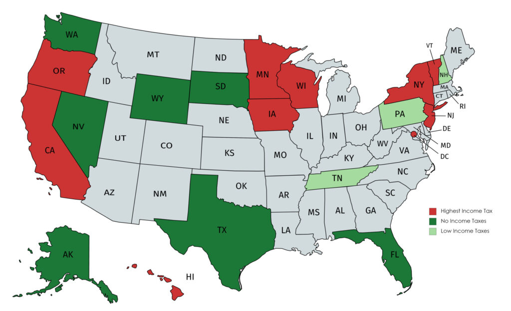 Income Tax Map By State